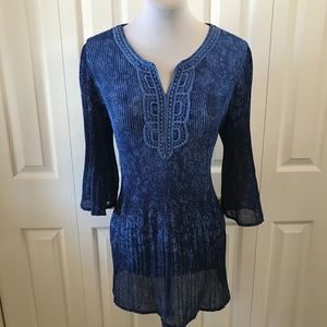 Peasant Boho Blue Sheer Bell Sleeve Blouse 14/16W